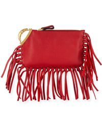 37985bc51c Valentino Lion Finger Clutch Bag With Fringe in Brown - Lyst