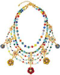 Jose & Maria Barrera Draped Bib Necklace W/ Glass Beads