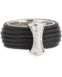Alor - Classique Steel & 18k Diamond Micro Cable Ring Size 7 Black - Lyst