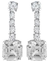 Fantasia by Deserio - Asscher-cut Cz Drop Earrings - Lyst