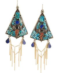 Devon Leigh - Turquoise Lapis & Coral Triangle Fringe Earrings - Lyst