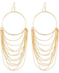 Lydell NYC - Golden Circle & Layered Chain Drop Earrings - Lyst