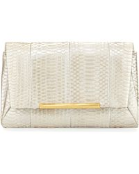 B Brian Atwood - Hazel Snake-embossed Leather Clutch Bag - Lyst