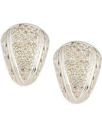 John Hardy - Silver Small Diamond Pave Shrimp Earrings - Lyst