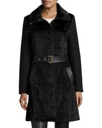Belle By Badgley Mischka - Iris Faux-fur Fit-and-flare Coat - Lyst