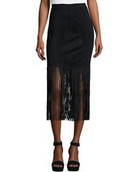 acf5a82347 Neiman Marcus - Faux-suede Fringed Skirt - Lyst