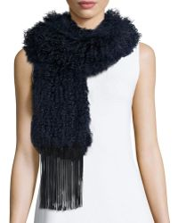 Monique Lhuillier - Fur Scarf W/leather Fringe - Lyst