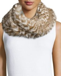 Monique Lhuillier - Knitted Rabbit Fur Check Infinity Scarf - Lyst