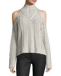 La Fee Verte - Cable-knit Cold-shoulder Sweater - Lyst