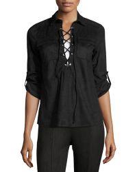 8d4351e3fbca8 Cirana - Faux-suede Lace-up Shirt - Lyst
