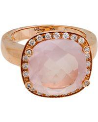 Poiray - 18k Rose Gold Cushion-cut Rose Quartz & Diamond Ring - Lyst