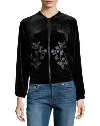Hazel - Embroidered-detail Velvet Bomber Jacket - Lyst