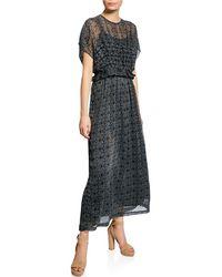 Max Studio - Printed Peplum Maxi Dress - Lyst