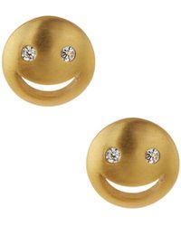 Tai - Cz Smiley Stud Earrings - Lyst