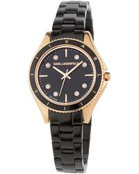 Karl Lagerfeld - 32mm Janelle Crystal Watch W/ Bracelet Gold/black - Lyst