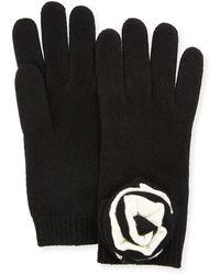 Neiman Marcus - Knit Floral Appliqué Gloves - Lyst