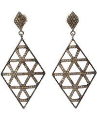Bavna - Black Silver Kite Drop Earrings With Champagne Diamonds - Lyst