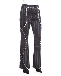 Edun - Square Pinstripe Button-trimmed Flare Pants - Lyst