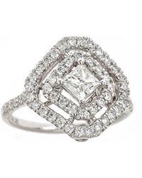 Neiman Marcus - 18k White Gold Square-shape Diamond Ring - Lyst