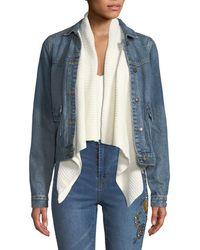 Dex - Denim Jacket W/ Ribbed Sweater Collar - Lyst