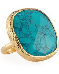 Nakamol - Adjustable Simulated Turquoise Cocktail Ring - Lyst