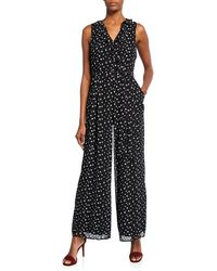 Donna Ricco - Faux-wrap Polka-dot Jumpsuit - Lyst