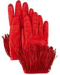 Diane von Furstenberg - Leather Gloves With Fringe Trim - Lyst