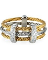 Alor - Linear Diamond 3-row Cable Ring In Two-tone Size 7 - Lyst