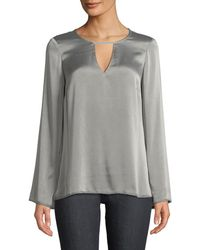 Go> By Go Silk - Go Window Keyhole-front Dressing Bell-sleeve Blouse - Lyst