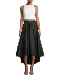 Aidan Mattox - Sequin Crop-top W/ High-low Skirt - Lyst
