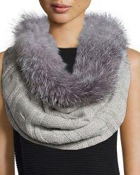 Sofia Cashmere - Fur-trim Cashmere Cable-knit Snood - Lyst