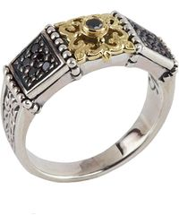 Konstantino - Asteri Slim Floral Pave Black Diamond Band Ring - Lyst