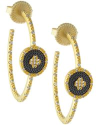 Freida Rothman - Pave Medallion Clover Hoop Earrings - Lyst
