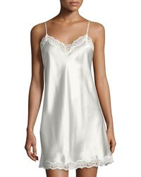 Neiman Marcus - Lace-trimmed Silk Chemise - Lyst