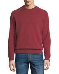 Brunello Cucinelli - Men's Solomeo Fine Gauge Wool/cashmere-blend Crewneck Sweatshirt - Lyst