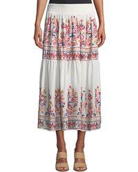 Joan Vass - Embroidered Midi Peasant Skirt - Lyst