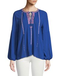 Neiman Marcus - Embroidered Split-neck Peasant Blouse - Lyst