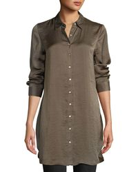 Dex - Embroidered-back Button-front Satin Blouse - Lyst