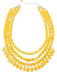 Lydell NYC - Multi-row Beaded Statement Necklace W/ Dangles Yellow - Lyst