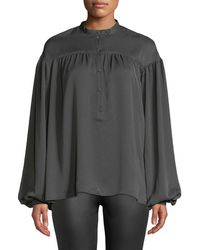 Tomas Maier - Charmeuse Tab-collar Popover Blouse - Lyst