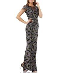 JS Collections - Metallic Floral-embroidered Illusion-neck Gown - Lyst