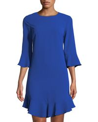 Cece by Cynthia Steffe - 3/4-sleeve Ruffle-hem Shift Dress - Lyst