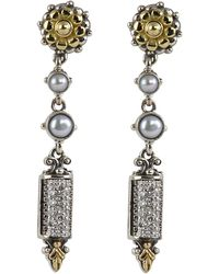 Konstantino - Asteri Etched Freshwater Pearl & Diamond Dangle Earrings - Lyst