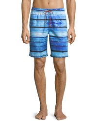 Bugatchi - Watercolor-stripe Swim Shorts - Lyst