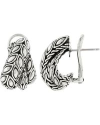 John Hardy - Padi Overlap Silver Hoop Earrings - Lyst