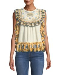 Leon Max - Ruffled-trimmed Embroidered Blouse - Lyst