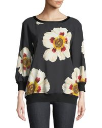 Lafayette 148 New York - Nessa Floral-print Crepe Sweatshirt - Lyst