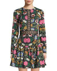 Alexia Admor - Long-sleeve Floral Ruffle-skirt Dress - Lyst