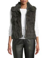 Adrienne Landau - Reversible Dyed Rabbit Fur Quilted Vest - Lyst