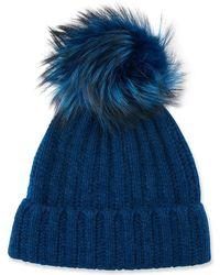 Neiman Marcus - Cashmere Ladder-stitch Fox Fur Beanie - Lyst